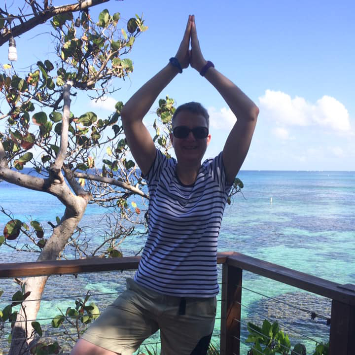 Louise's early morning positions in Roatan, Honduras, before the heat builds up!